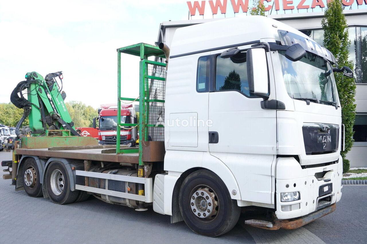 شاحنة مسطحة MAN TGX 26.440 XLX  , E5 , 6x2 , Crane Palfinger Epsilon Q130Z ,
