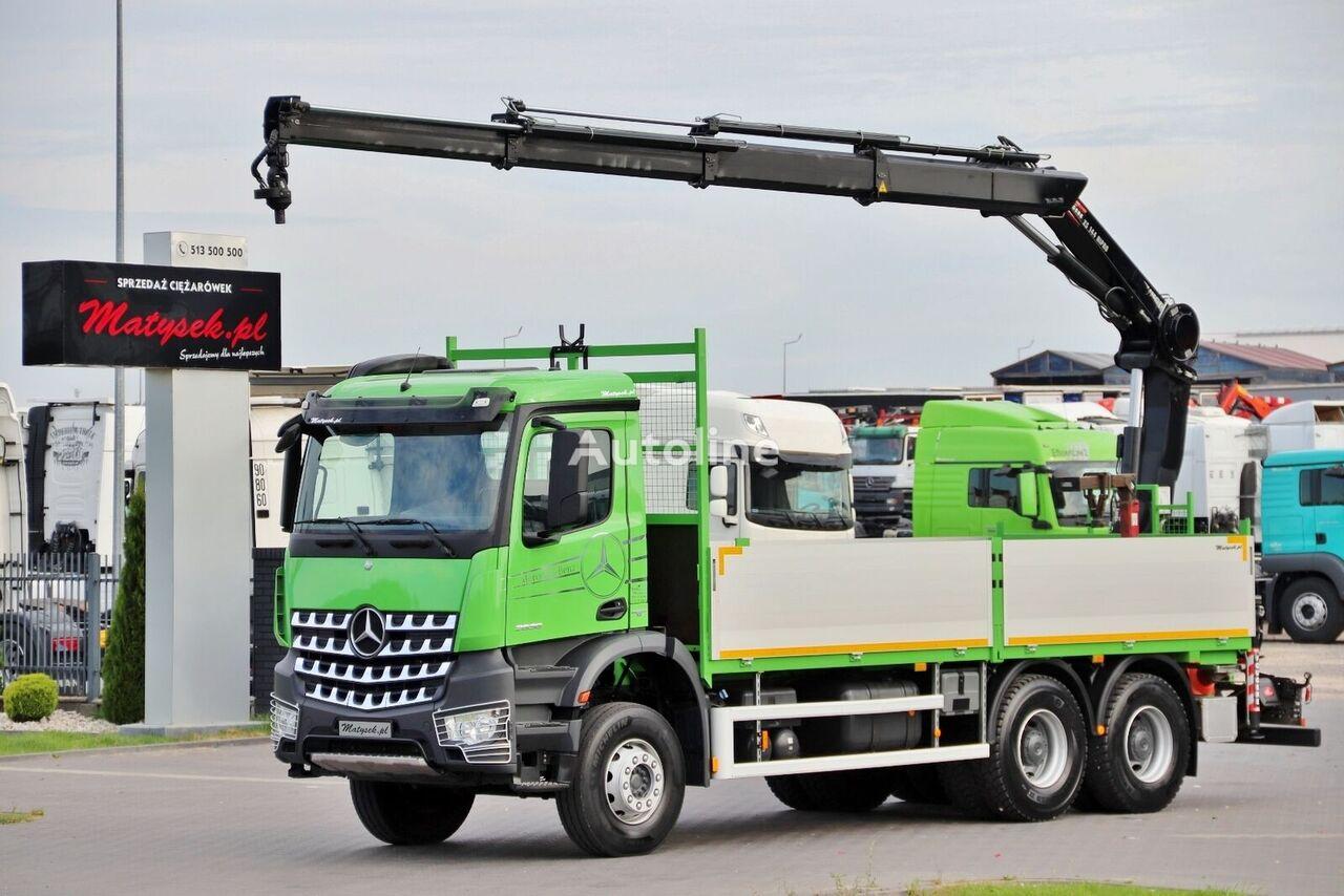 شاحنة مسطحة MERCEDES-BENZ AROCS 2636 / 6X4 / BOX - 6,4 M + CRANE HIAB 144 / RADIO / EURO 6