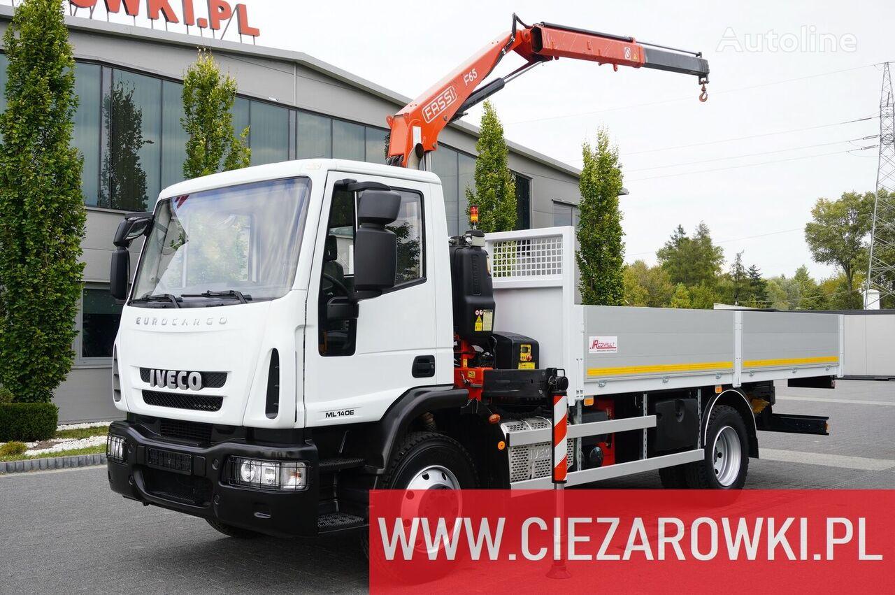 عربة مقطورة مسطحة IVECO Eurocargo 140E 19K , E6 , 4x2 , 70k km , box 5,5m Crane Fassi F6
