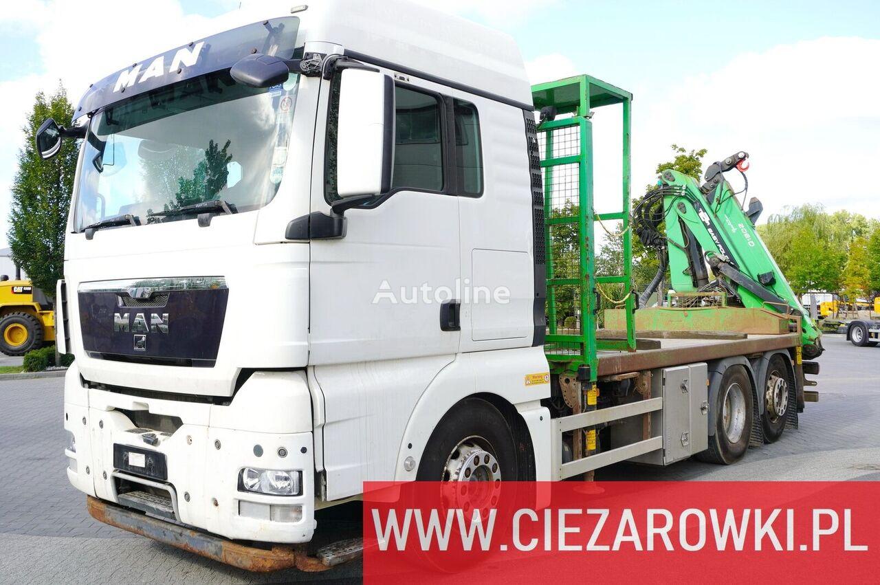 عربة مقطورة مسطحة MAN TGX 26.440 XLX  , E5 , 6x2 , Crane Palfinger Epsilon Q130Z ,