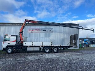 شاحنة نقل السيارات VOLVO FM400, 6x2 + CRANE + HYDRAULIC RAMPS