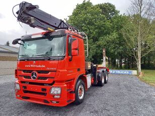 شاحنة نقل الأخشاب MERCEDES-BENZ Actros 3360 -6x4-hiab crane-steel suspension-alcoa